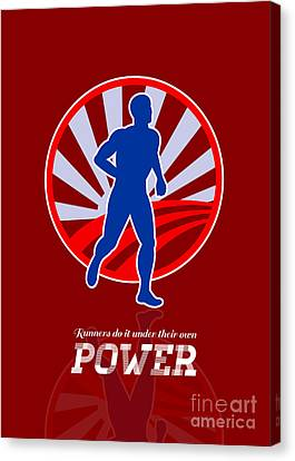 Runner Running Power Retro Poster Canvas Print