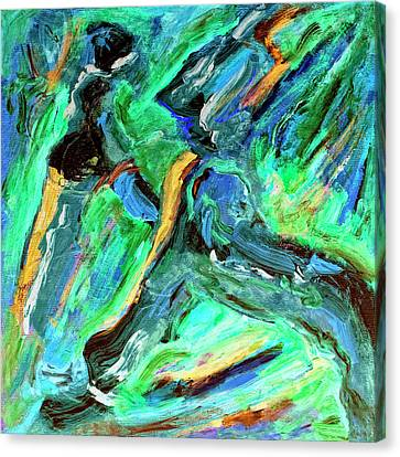 Canvas Print featuring the painting Runners by Dominic Piperata