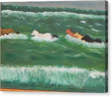 Running Before The Tide Canvas Print by Ernie Goldberg