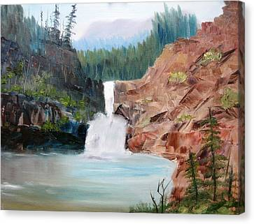 Running Eagle Falls Canvas Print by Larry Hamilton