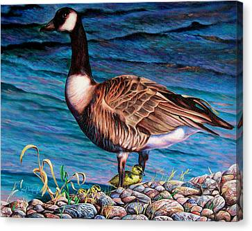 Canvas Print featuring the painting Running For Cover by Craig T Burgwardt