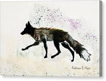 Running Fox Canvas Print by Anderson R Moore