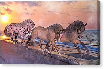 Bay Horse Canvas Print - Running Free by Betsy Knapp