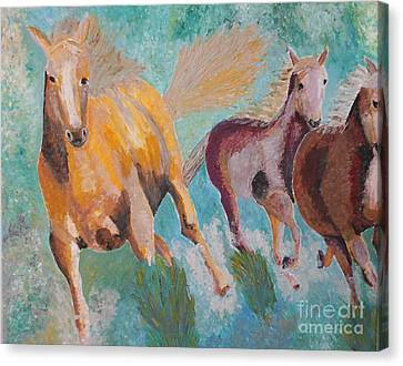 Canvas Print featuring the painting Running Horses  by Vicky Tarcau
