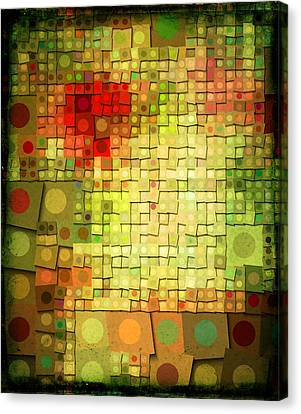 Red Green And Gold Abstracts Canvas Print - Running In Circles by Bonnie Bruno