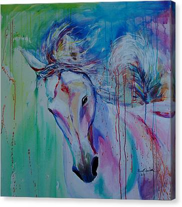 Running In Shades Of Pink And Blue Canvas Print by Isabel Salvador