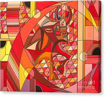 Cubism Canvas Print - Running Of The Bulls by Christopher Page