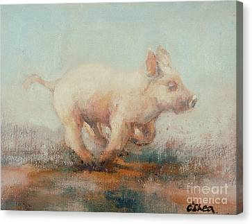 Running Piglet Canvas Print by Ellie O Shea