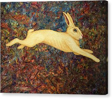 Running Rabbit Canvas Print by James W Johnson