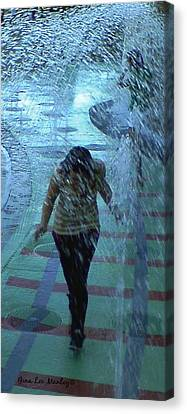 Manley Canvas Print - Running Through The Fountains by Gina Lee Manley