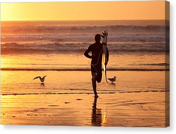 Canvas Print featuring the photograph Running To Surf by Nathan Rupert