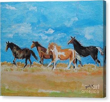 Canvas Print featuring the painting Running Wild by Judy Kay