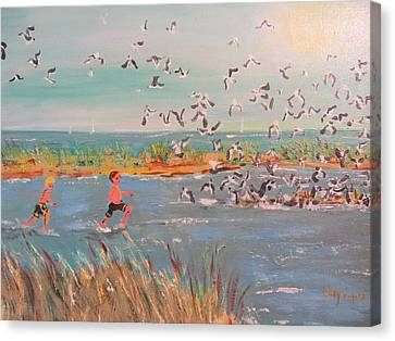 Running With The Gulls Canvas Print