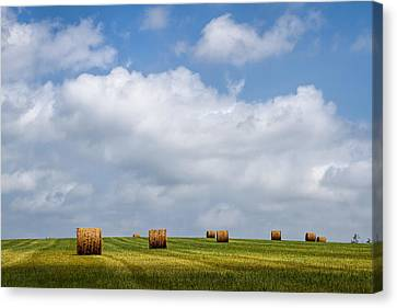 Haybale Canvas Print - Rural America - A View From Kansas Country Roads by Scott Bean