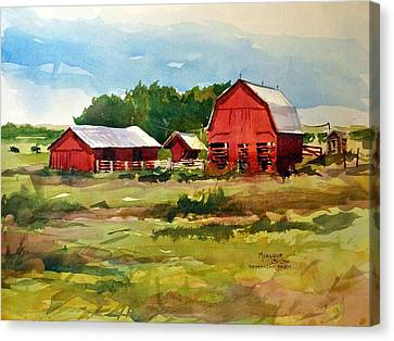 Rural Barns Canvas Print by Spencer Meagher
