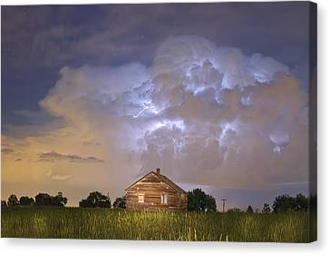 Lightning Decorations Canvas Print - Rural Country Cabin Lightning Storm by James BO  Insogna