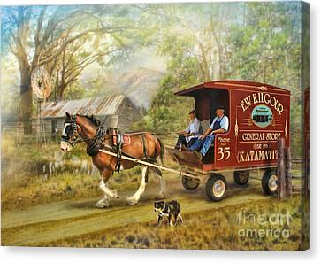 Horse And Cart Canvas Print - Rural Deliveries by Trudi Simmonds