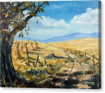 Rural Farmland Americana Folk Art Autumn Harvest Ranch Canvas Print by Lee Piper