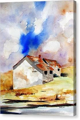 Rural Houses And Dramatic Sky Canvas Print by Carlin Blahnik