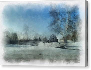 Rural Il Winter Time Around The Barn Photo Art 01 Canvas Print by Thomas Woolworth