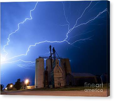 Rural Lightning Storm Canvas Print by Art Whitton