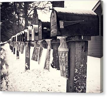 Country Lanes Canvas Print - Rural Mailboxes by Edward Fielding