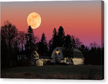 Canvas Print featuring the photograph Rural Moonrise by Larry Landolfi