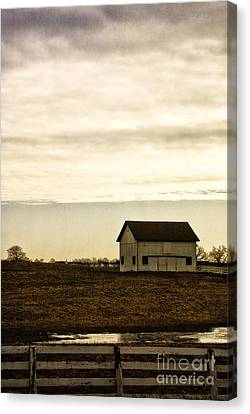 Rural Old Barn Behind Fence Canvas Print
