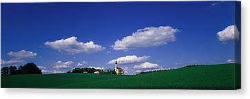 Rural Scene With Church, Near Canvas Print by Panoramic Images