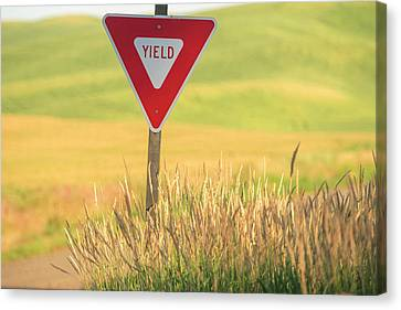 Rural Sign Near Field Of Wheat, Palouse Canvas Print by Stuart Westmorland