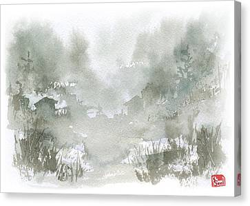 Canvas Print featuring the painting Rural Valley by Sean Seal