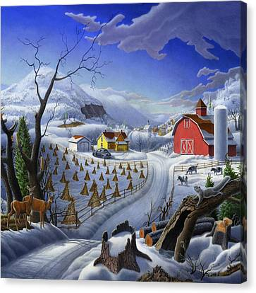 Rural Winter Country Farm Life Landscape - Square Format Canvas Print by Walt Curlee