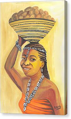 Canvas Print featuring the painting Rural Woman From Cameroon by Emmanuel Baliyanga