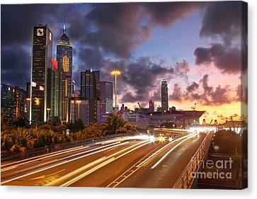 Rush Hour During Sunset In Hong Kong Canvas Print by Lars Ruecker