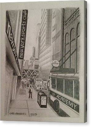 Rush Hour On W 41 Street Canvas Print by Carl Frankel