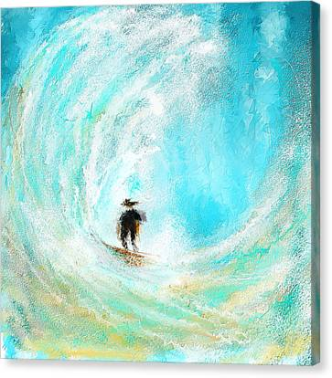 Surfing Art Canvas Print - Rushing Beauty- Surfing Art by Lourry Legarde