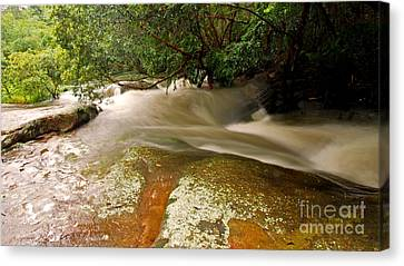 Rushing Waters In A Rocky Creek Canvas Print by Justin Woodhouse