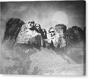 Canvas Print featuring the photograph Rushmore At Night by Roy  McPeak