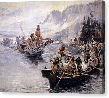 Canoe Canvas Print - Russell Lewis And Clark by Granger
