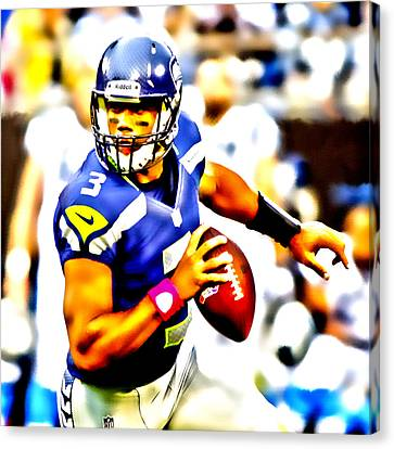 Russell Wilson In The Pocket Canvas Print by Brian Reaves