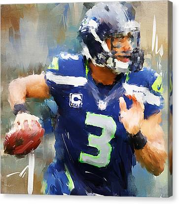 Russell Wilson Canvas Print by Lourry Legarde