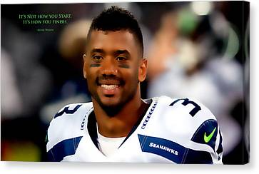Russell Wilson Quote Canvas Print by Brian Reaves