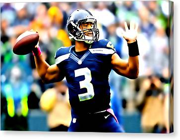 Russell Wilson Smooth Delivery Canvas Print by Brian Reaves