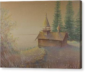 Canvas Print featuring the painting Russian Chapel by Alla Parsons