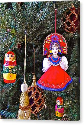 Russian Christmas Tree Decoration In Fredrick Meijer Gardens And Sculpture Park In Grand Rapids-mi Canvas Print by Ruth Hager