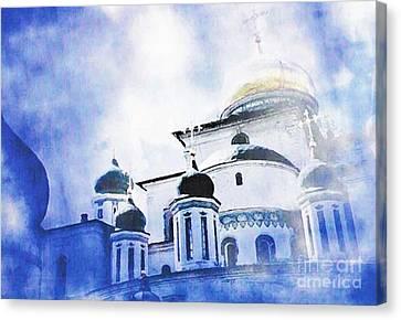 Russian Church In A Blue Cloud Canvas Print by Sarah Loft