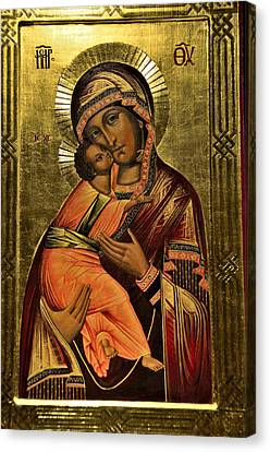 Russian Icon Canvas Print - Russian Icon  Our Lady Of Vladimir by Elzbieta Fazel