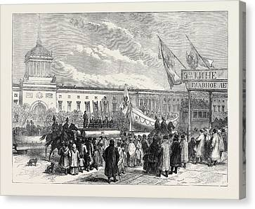 Russian Marriage Festivities Procession Of Life Boats At St Canvas Print by English School