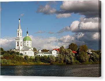 Russian_church_volga-river Canvas Print by Elena Ouspenskaia