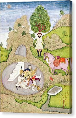 Rustam Killing The White Demon, From The Shahnama Book Of Kings Canvas Print by Indian School